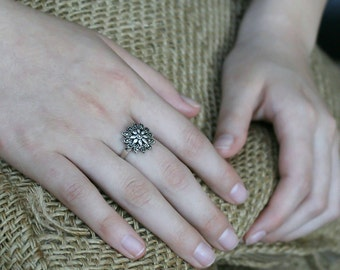 Handcrafted Daisy Spring Ring. Marcasite Stone inlaid in Sterling Silver. Gift for her.