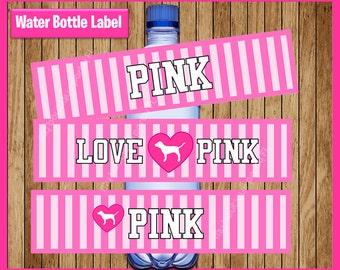 Victorias Secret Pink Water Bottle Label instant download, Printable Victorias Secret party Water Bottle Label, Victoria secret Bottle