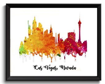 Las Vegas Art Print - Watercolor Las Vegas Art, Cityscape Print, NV Las Vegas Print, Las Vegas Poster, Splatter Paint Art, Digital download