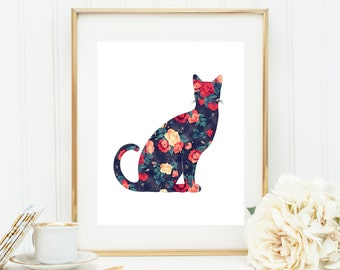 Floral Cat Art - Digital Cat Print, Printable Kitty, Printable Cat Art, Roses Cat. Shabby Chic Cat, Black, Red, Orange, Floral Cat Poster