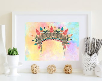 Printable Headdress, Headdress poster, Headdress art, download file, pastel rainbow art, indian art, native american art, bright colors