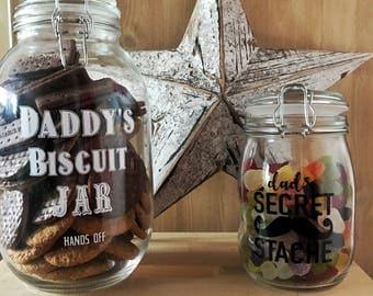 Treat Jar, Fathers Day Gift, Secret stash, Sweetie Jar, Biscuit Jar, Cookie Jar