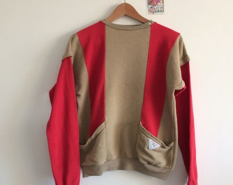 Vintage sweatshirt in red and mustard colours, womens size S