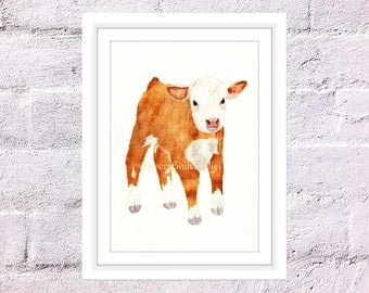 Watercolor Calf Print, Watercolor Cow, Baby Cow Print, Hereford Cattle Print, Farm Animal Print, Nursery Animal, Animal with Flower Crown