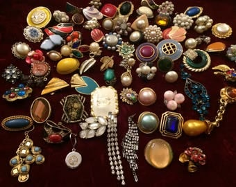 Huge Lot of 75 Single Earrings Some are Signed - for Craft or Re-purpose