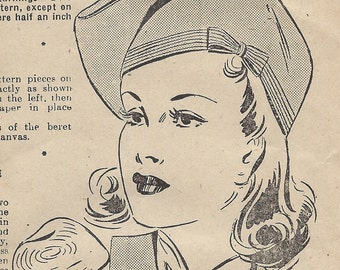 1940s WW2 Vintage Sewing Pattern BERET SIZE: 22 (1281) Bestway 19,567