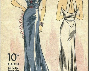 1939 Vintage Sewing Pattern B34 EVENING DRESS (R957) By Du Barry 1602B