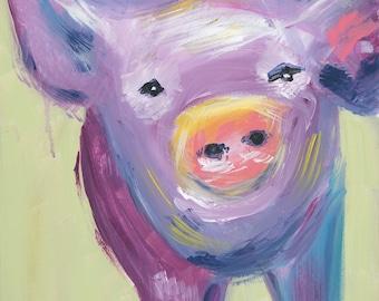 8x8 Purple Pig (cardstock print)