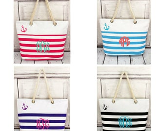 Monogrammed rope handle anchor tote, beach tote