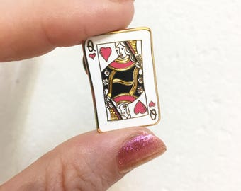 Queen of hearts enamel pin