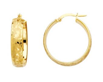 14K Yellow Gold Round Hoop Earrings - High Quality Puffy Hollow Design Women's