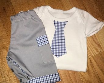 Tie onesie with matching snap pants