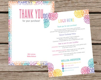 Thank You Card, Personalization, Home Office Approved, Fashion Retailer, Return/Care/Policy, Post Card, Instruction Return Exchange LLR007