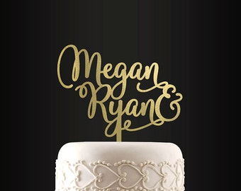 Personalized Wedding Cake Topper, First Names, Bride and Groom, Custom Cake Topper, Customizable Cake Topper, Mr and Mrs