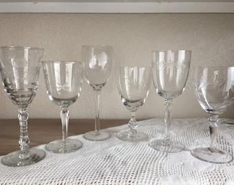 Vintage Wine Glasses • Set of 6 • Mismatch Glasses
