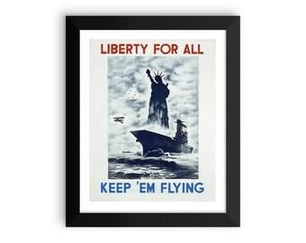WWII Liberty for All VINTAGE POSTER | vintage wartime poster | vintage print |  propaganda print | framed poster | world war two poster