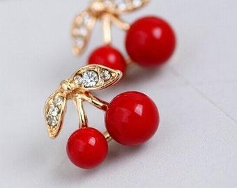 Romantic Earring Rhinestone RED CHERRY Stud Earrings BEAUTIFUL 1.2x1.5 cm