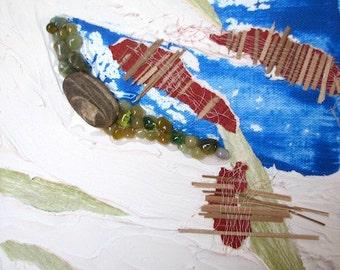 Artwork unique painting mixed media art - any part2 landscape - view Aerienne-blanc-bleu-rouge-vert-mosaique-l'art beautify