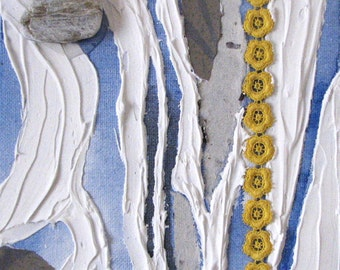 Original paint work - mixed media artwork - just above the water landscape view air-blue-white-yellow - art to embellish
