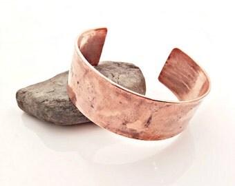 Wide Copper Pipe Cuff Bracelet