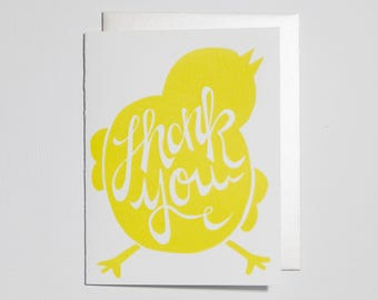 Thank You Baby Chick Letterpress Greeting Card