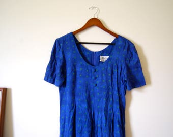 "Vintage 80s Cobalt Blue Crinkle Rayon Romper Jumpsuit Playsuit with ""Evil Eye"" Print"
