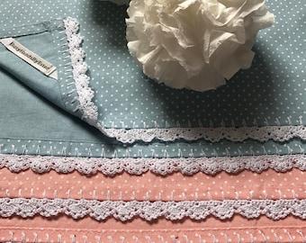 Tea Towel/ Kitchen Towel/ Set of 2 Tea Towels/ Crochet Edging/ Polkadot