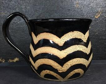 Black Ceramic Mug, 8 oz, Unique handmade ceramics