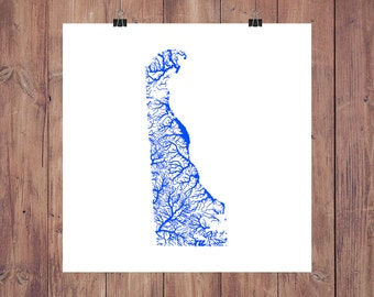 Delaware Map - High Res Digital Map of Delaware Rivers / Delaware Print / Delaware Art / Delaware Poster / Delaware Gift / Delaware Wall Art