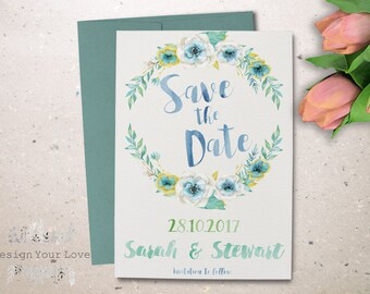 floral wreath save the date printable wedding invitation printable save our date watercolor save the date invitation floral wedding invite