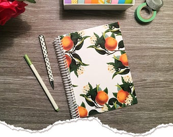 Small Size - Horizontal Monthly & Weekly Planner - Oranges Forever - 1 Year Planner 2017 - 2018