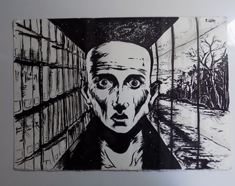 ink on paper painting v for vendetta inspired portrait utopia galaxy books sea shore