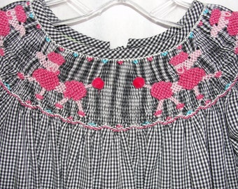 Anavini Pink Poodle Gingham Girls Dress