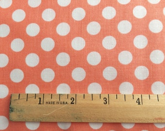 Peach Dot Fabric - Michael Miller Peach Ta Dot Fabric - Coral and White Polka Dot Material