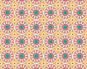 Yellow Medallion Fabric - Ardently Austen Fabric - Yellow and Red Material