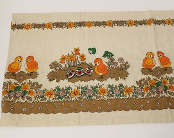 Swedish table runner Printed runner Easters Brown Yellow Green printed daffodils Floral table Printed Easter with chickens Easter linens