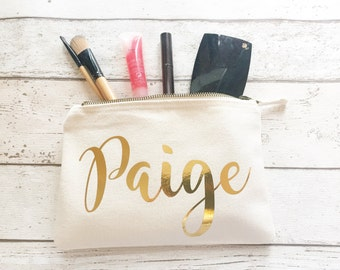 Gold Personalised make up bag | Personalised gift | Bridesmaid gift  | Personalised Birthday Present | Wedding bag | Cosmetic bag