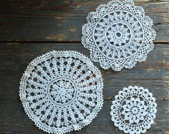 Vintage small lace doily, round shape crochet tablecloth, vintage doily set, three pcs doilies