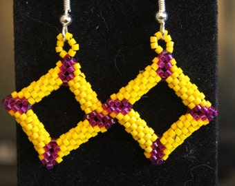 Yellow and Fuchsia earrings