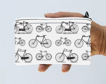 Bicycle Little Zipper Pouch - Bike Bag Vintage Bicycles Coin Purse - Gadget Case Padded - Travel Pouch