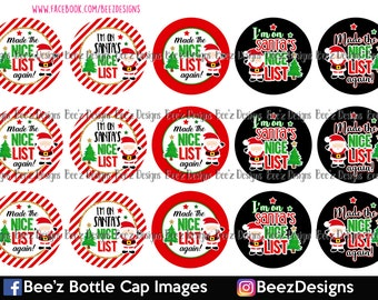 INSTANT DOWNLOAD- Made the nice list- 1 inch Bottlecap Images