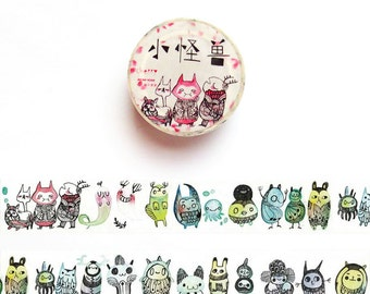 Little Monsters Washi Tape, Monster Doodle Washi Tape Roll, Succulent Washi Tape, Deco Tape, Masking Tape