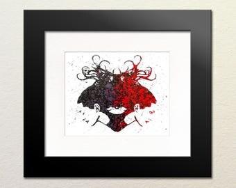 Ligeia Painting Print, Expressionist Art Print, Wall Art, Poster, Violet, Red, Black, Splatter Edgar Allen Poe Art