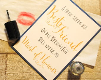 Best Friend - Will You Be My Maid of Honour? Greeting Card