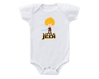 """Baby """"Little Jedi"""" Babysuit, Star Wars Onesie, Star Wars Baby, Star Wars Baby Clothing"""