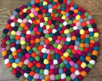 Rainbow FELT BALL MAT