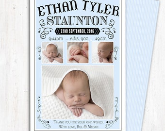 Photo Birth Announcement | Baby Birth Announcement | A6 | Double Sided | Card stock 350gsm | Boy | Printed Announcement | Newborn Baby