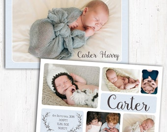 Photo Birth Announcement | Baby Birth Announcement | A6 | Double Sided | Card stock 350gsm | Boy | Printed Announcement | Multiple Photos