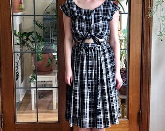Adorable Vintage Two-Piece Plaid Blouse and Skirt