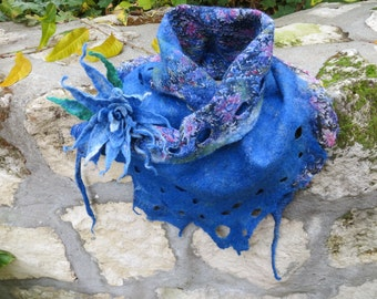 Felted scarf-collar, Gift under 50, Blue scarf and brooch, Asymmetric scarf, Boho style, Blu felted brooch, Felted brooch, Gift for Her